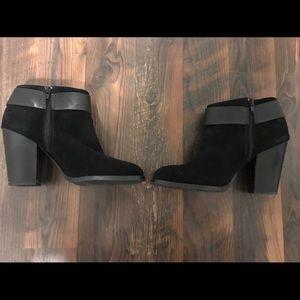 Black suede booties w/ stacked heel